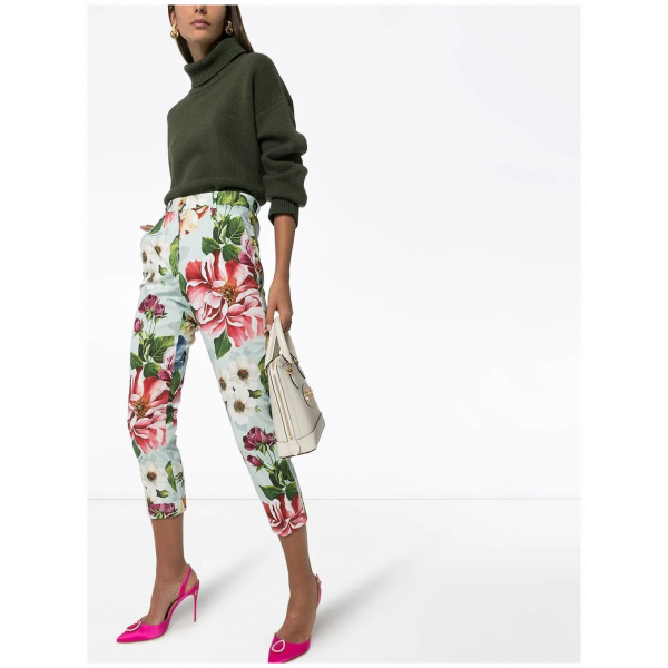 Dolce & Gabbana Cropped Floral Print Trousers