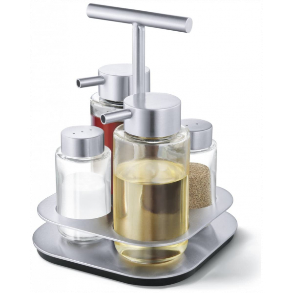 Oil And Vinegar Stand and Salt and Pepper Shakers